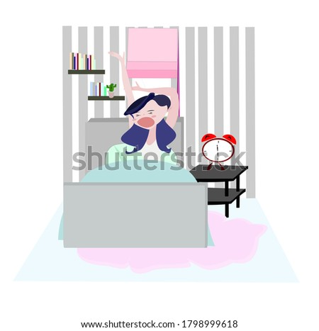Women wake up in the morning .Cute girl  stay at home. People illustration . Cute cartoon character person flat design .Clip art on white isolated background.