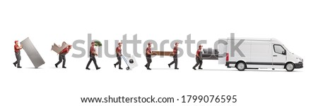 Movers putting household items in a white van isolated on white background