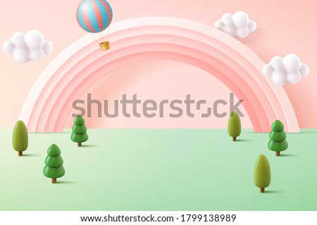 Miniature forest background in pastel tone, decorated with cute pink rainbow and hot air balloon, 3d illustration Royalty-Free Stock Photo #1799138989