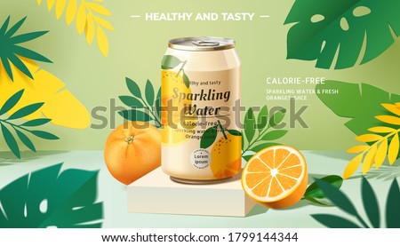 Sparkling water promo banner with lemons on tropical background in 3d illustration #1799144344