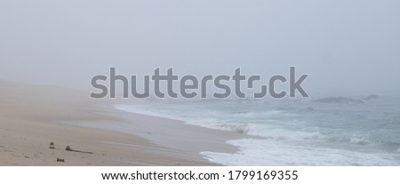 View along shoreline of misty beach early in morning with fog on ocean Royalty-Free Stock Photo #1799169355