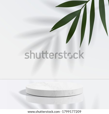 Minimal geometric, white marble podium in white background and leaves. product presentation, mockup, scene to show cosmetic product, Podium, stage, pedestal or platform. simple clean design, 3d vector #1799177209