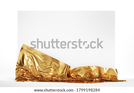 Empty screen covered with golden cloth. Isolated with clipping path. 3d illustration