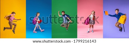 Back to school! Collage of 5 school children on a colorful paper wall background. Children with backpacks. Children are Happy and ready to learn. Dynamic images. positive cheerful and active jumps. #1799216143