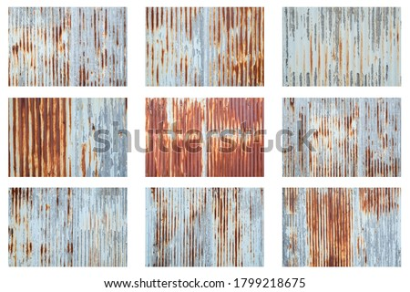 Old metal sheet roof texture isolated on white background. Rusty metal sheet texture set. Royalty-Free Stock Photo #1799218675