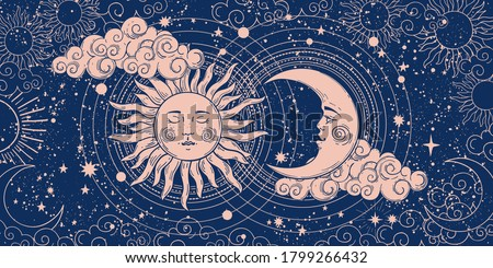 Magic banner for astrology, divination, magic. The device of the universe, crescent moon and sun with moon on a blue background. Esoteric vector illustration, pattern #1799266432
