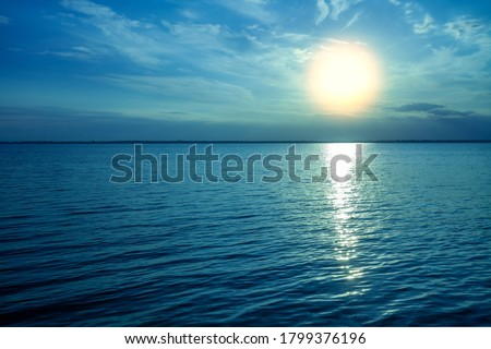 seascape in the morning. Sunrise in the sea Royalty-Free Stock Photo #1799376196