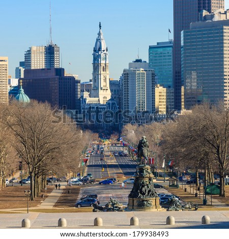 Philadelphia skyline, taken from the art museum