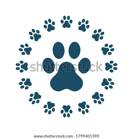 Paw print icon on white background. Pictogram, icon set illustration. Useful for website design, banner, print media, mobile apps and social media posts.