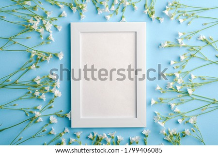 White empty photo frame mockup with mouse-ear chickweed flowers on blue background, top view copy space