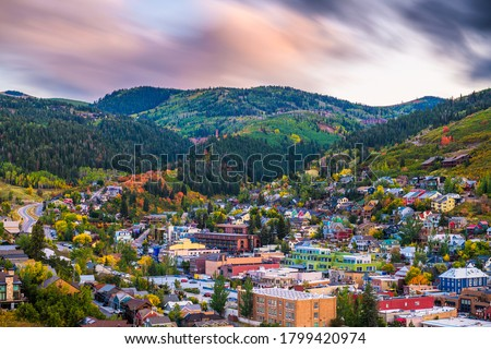 Park City, Utah, USA downtown in autumn at dusk. Royalty-Free Stock Photo #1799420974