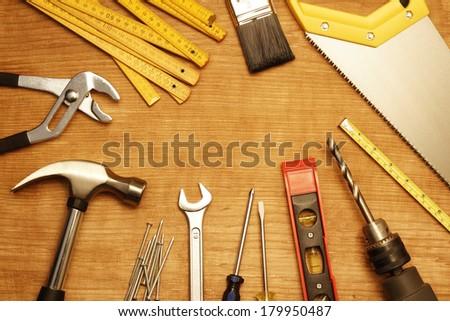 Assorted work tools on wood #179950487