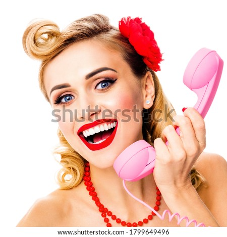 Portrait studio image - happy amazed woman with phone tube. Pin up girl. Retro and vintage. Isolated over white background. Square composition picture. Call center ad concept photo. Sales action.