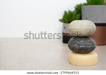 Solid Shampoo bars and Solid conditioner bar Royalty-Free Stock Photo #1799664151