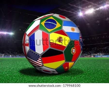 Soccer Ball with Team Flags in a Stadium #179968100