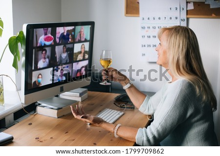 Virtual Happy hour party. Video conference get-together online meeting with friends and family. Birthday party in online call. Parties during quarantine Long Distance Celebration. Video conferencing #1799709862