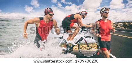 Triathlon swim bike run triathlete man running biking swimming in ocean ,banner panorama. Three pictures composite of professional fitness athlete.