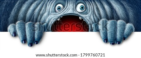 Winter monster holding a sign as a fury bigfoot sasquatch or snow yeti as a big foot abominable snowman with an open mouth as a funny character with copy space with 3D illustration elements.