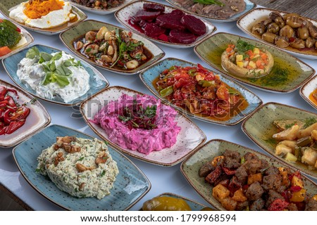 Traditional Turkish and Greek dinner meze table. Turkish Cuisine Cold Appetizers (appetizers with olive oil). Turkish appetizers in colorful plates. yogurt and various boiled herbs #1799968594