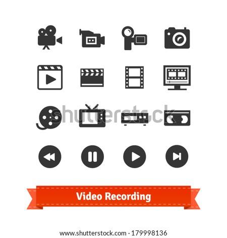 Video recording icon set on modern and retro media.
