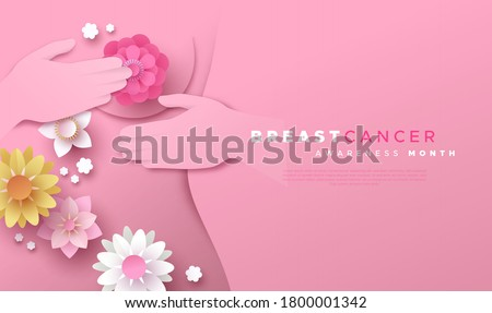 Breast Cancer awareness month web template illustration. Woman doing self examination in papercut style with spring flowers. Pink paper cut design for disease prevention or october support campaign. #1800001342