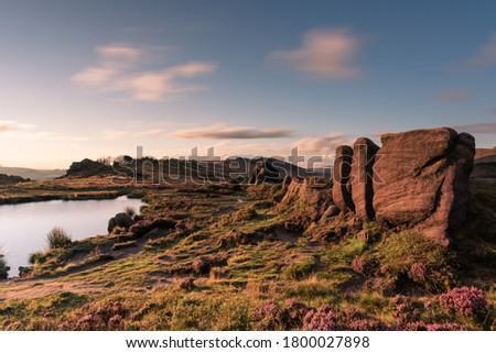 Panoramic view of The Roaches at sunset in the Peak District National Park, Staffordshire, UK