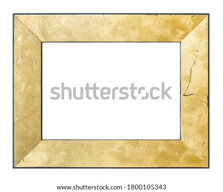 Brushed golden vintage picture frame isolated on white background