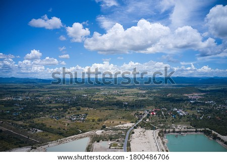 This unique photo shows the islands and structure of a reservoir in Hua Hin Thailand from above. The picture was taken with a drone.