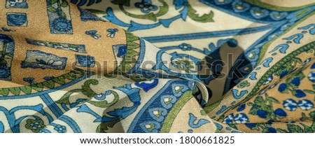 Texture background pattern postcard, silk fabric, moderate calm colors, royal monogram pattern, blue steel green brown colors on fabric. your design will be steeped in the spirit of the Middle Ages