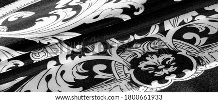 texture, background, black silk fabric with a monogram pattern Exquisite pattern of filigree fabric your design will delight you for a long time