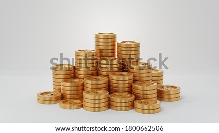 Golden coin stacks in white background. 3D render images. Money Saving concept. Royalty-Free Stock Photo #1800662506