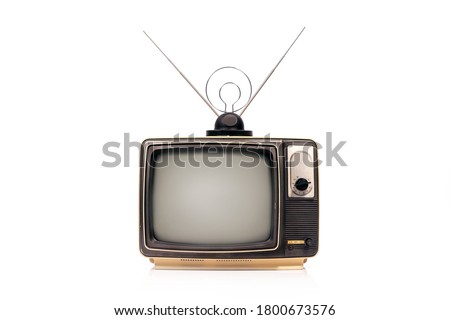 Old retro TV receiver set with antenna isolated on white background Royalty-Free Stock Photo #1800673576