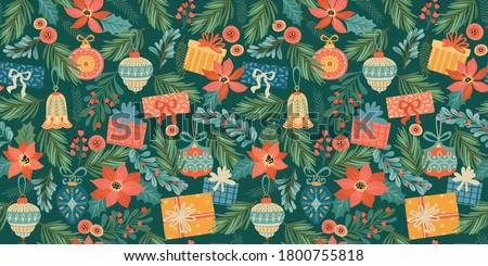 Christmas and Happy New Year seamless pattern with Christmas toys and gifts. Trendy retro style. Vector design template. #1800755818