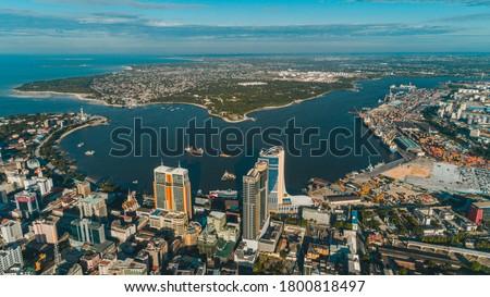aerial view of Dar es Salaam, Tanzania Royalty-Free Stock Photo #1800818497