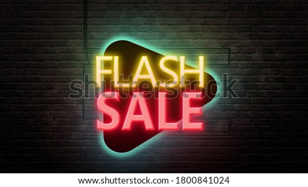 Flash sale sign emblem in neon style on brick wall background  Royalty-Free Stock Photo #1800841024