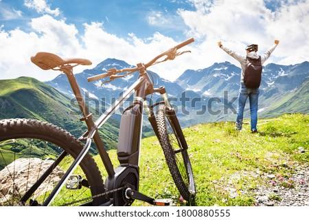 Mountain E Bike In Austria. Ebike Bicycle Royalty-Free Stock Photo #1800880555
