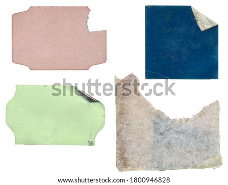 set of empty grungy adhesive price stickers, multicolored price tags, with free copy space, isolated on white background Royalty-Free Stock Photo #1800946828