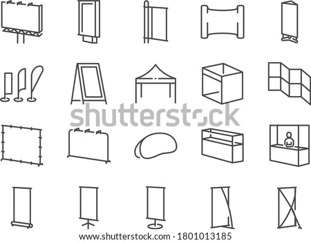 Exhibition line icon set. Included the icons as banner, backdrop, sign, bow flag, booth, advertising and more. Royalty-Free Stock Photo #1801013185