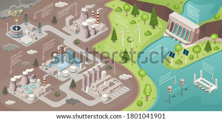 Alternative energy, green power and eco environment, vector isometric ecological concept. Alternative energy solar, wind and renewable power sources, windmills, thermal and hydroelectric power plants Royalty-Free Stock Photo #1801041901