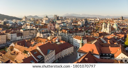 Panoramic view of Ljubljana, capital of Slovenia, at sunset. Empty streets of Slovenian capital during corona virus pandemic social distancing measures in 2020. #1801070797