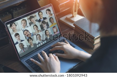 Video conference concept. Telemeeting. Videophone. Teleconference. Remote work. Royalty-Free Stock Photo #1801092943