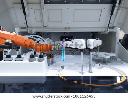 Robots in the medical lab, Mechanical arm holding test tube