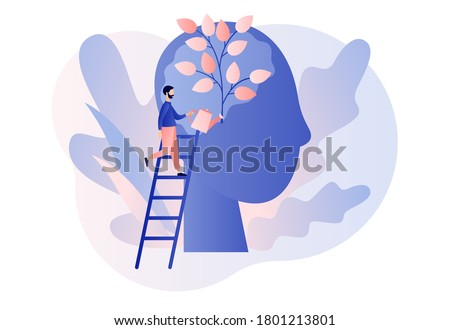 Personal growth. Tiny man watering that growing plant from the brain as metaphor growth personality. Self-improvement and self development concept. Modern flat cartoon style. Vector illustration #1801213801