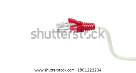 Red cable head,Connections of red network cable red lan cable background,on white with clipping path. #1801222204