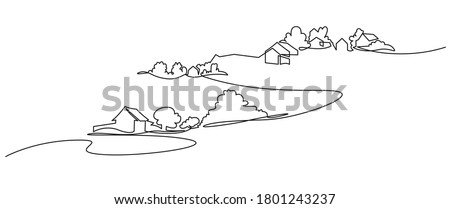 Rural landscape continuous one line vector drawing. Hills, house, trees and road hand drawn silhouette. Country nature panoramic sketch.