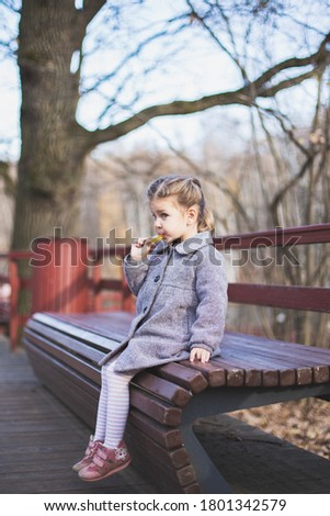 Elegant stylish little girl with pigtails in trendy grey coat, tights, snakers eats lollipop seating on wooden bench in fall park outdoors. Fashion autumn photo shoot. Family walk. Profile side view.