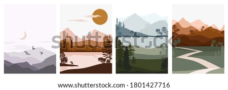 Set of abstract autumn landscape. Forest animals, hills of coniferous wood with mountains range, lake, river silhouette template. Editable vector illustration.  Royalty-Free Stock Photo #1801427716