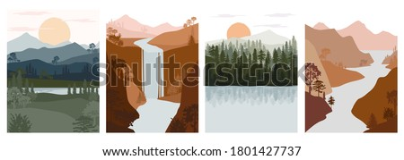 Set of abstract autumn landscape. Forest animals, hills of coniferous wood with mountains range, lake, river silhouette template. Editable vector illustration.  Royalty-Free Stock Photo #1801427737