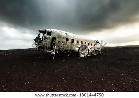 An old plane wreck in Iceland Royalty-Free Stock Photo #1801444750