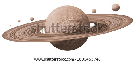 saturn planets in deep space with rings  and moons surrounded. isolated with clipping path on white background